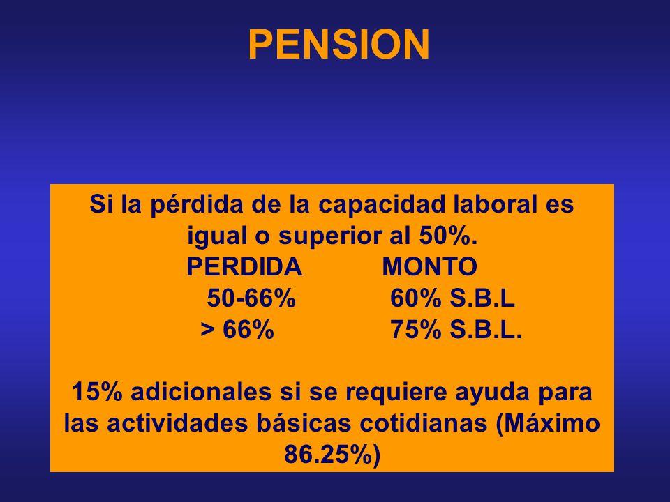 Si la pérdida de la capacidad laboral es igual o superior al 50%.