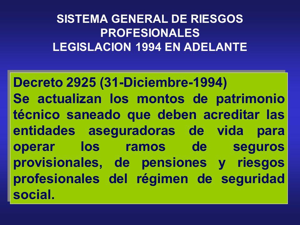 SISTEMA GENERAL DE RIESGOS PROFESIONALES LEGISLACION 1994 EN ADELANTE