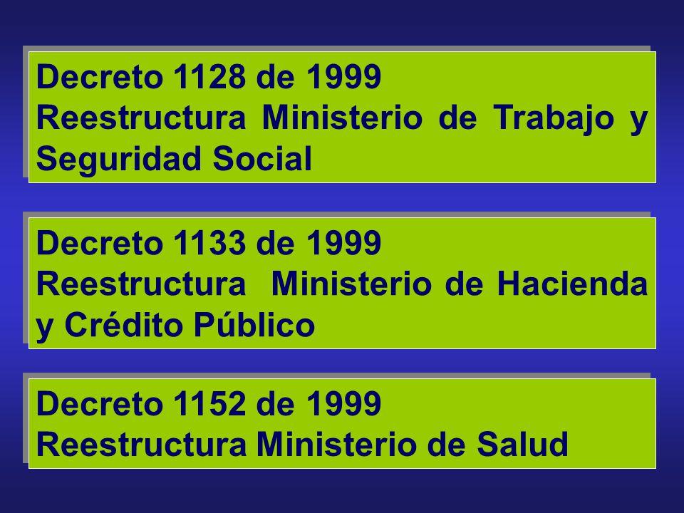 Decreto 1128 de 1999 Reestructura Ministerio de Trabajo y Seguridad Social. Decreto 1133 de 1999.