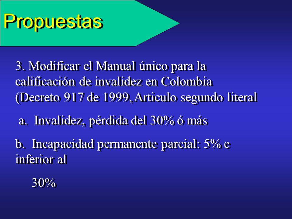 Propuestas 3. Modificar el Manual único para la calificación de invalidez en Colombia (Decreto 917 de 1999, Articulo segundo literal.