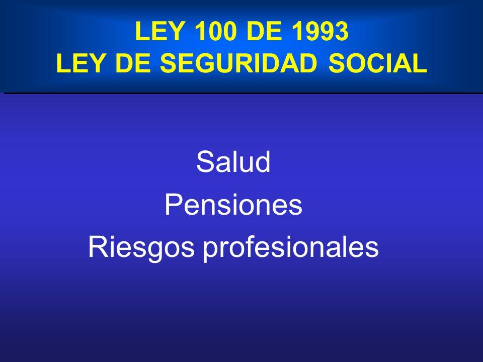 LEY 100 DE 1993 LEY DE SEGURIDAD SOCIAL