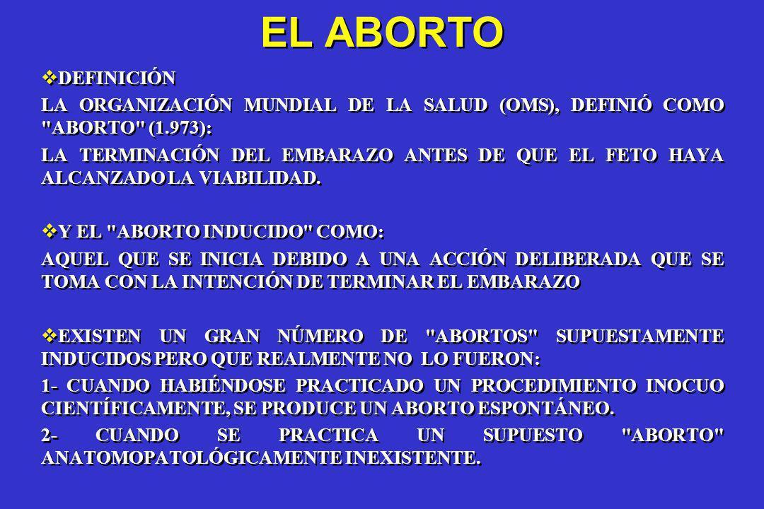 EL ABORTO DEFINICIÓN. LA ORGANIZACIÓN MUNDIAL DE LA SALUD (OMS), DEFINIÓ COMO ABORTO (1.973):