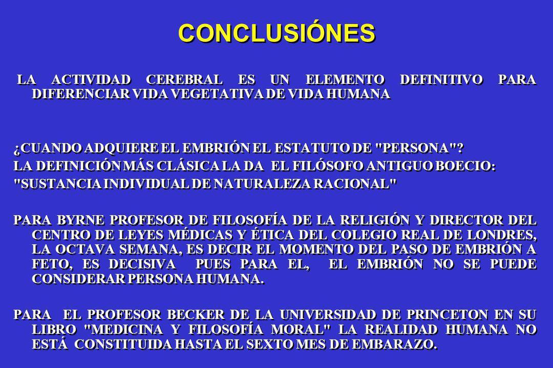 CONCLUSIÓNES LA ACTIVIDAD CEREBRAL ES UN ELEMENTO DEFINITIVO PARA DIFERENCIAR VIDA VEGETATIVA DE VIDA HUMANA.