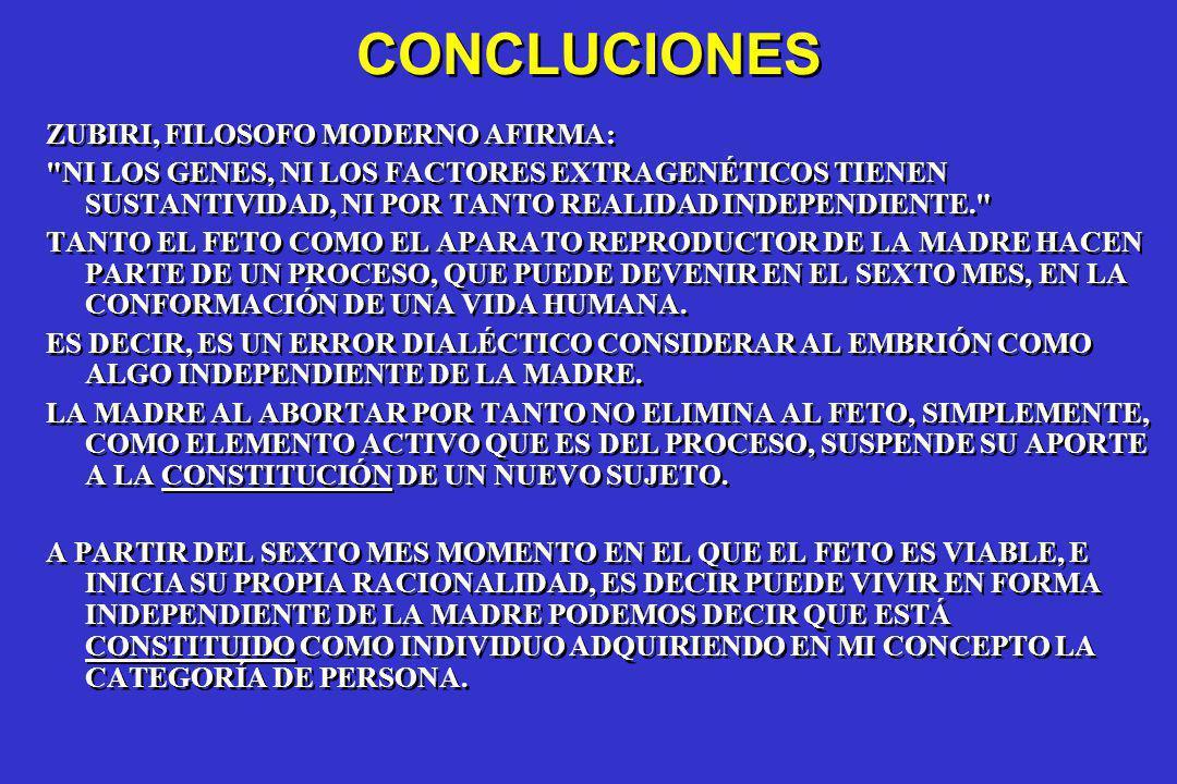 CONCLUCIONES ZUBIRI, FILOSOFO MODERNO AFIRMA: