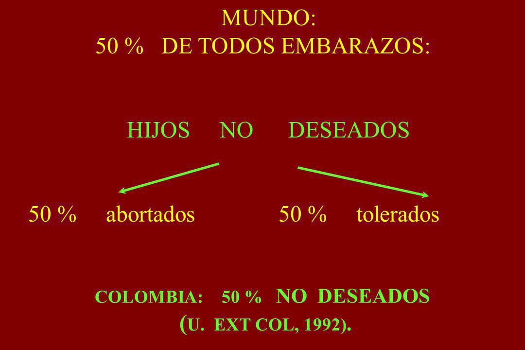 COLOMBIA: 50 % NO DESEADOS