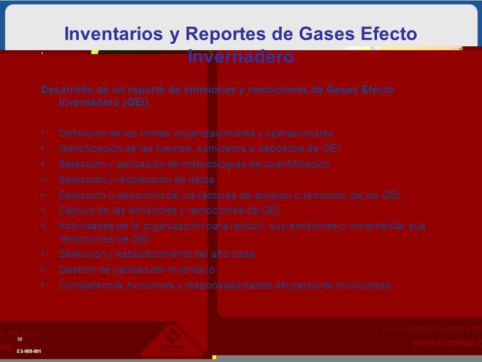 Inventarios y Reportes de Gases Efecto Invernadero