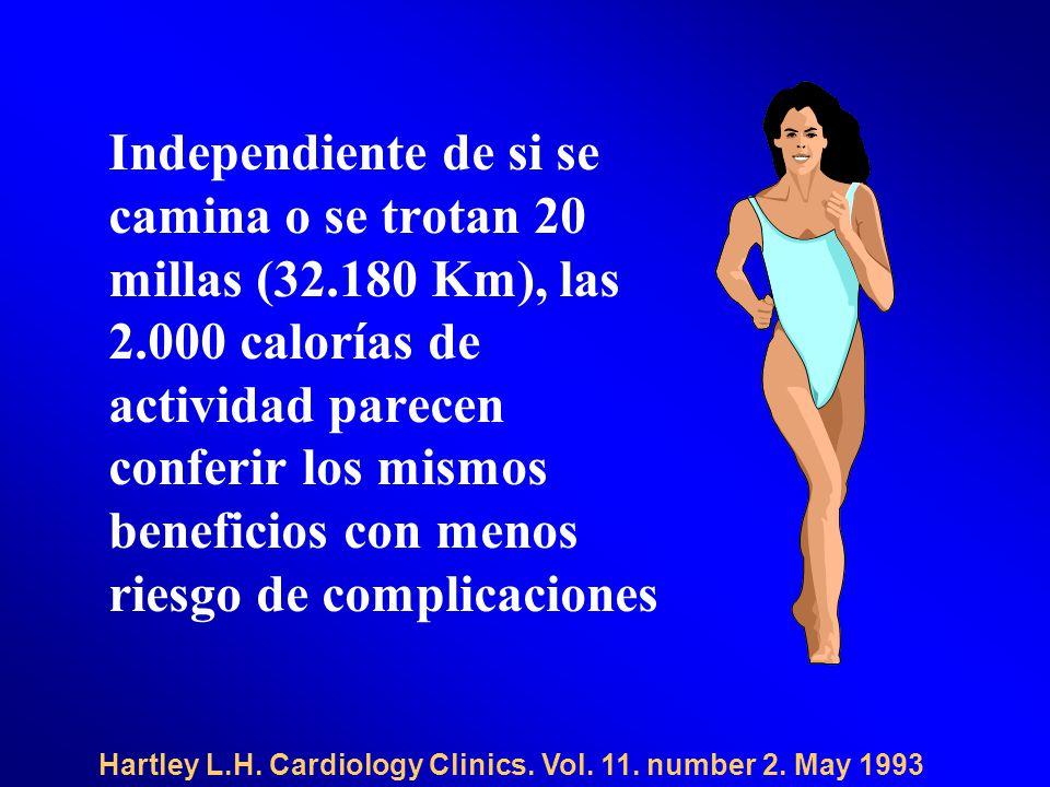 Independiente de si se camina o se trotan 20 millas (32.180 Km), las 2.000 calorías de actividad parecen conferir los mismos beneficios con menos riesgo de complicaciones