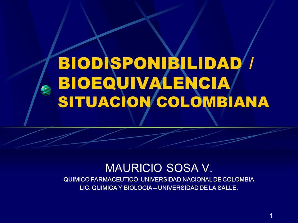 BIODISPONIBILIDAD / BIOEQUIVALENCIA SITUACION COLOMBIANA