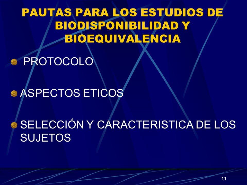 PAUTAS PARA LOS ESTUDIOS DE BIODISPONIBILIDAD Y BIOEQUIVALENCIA