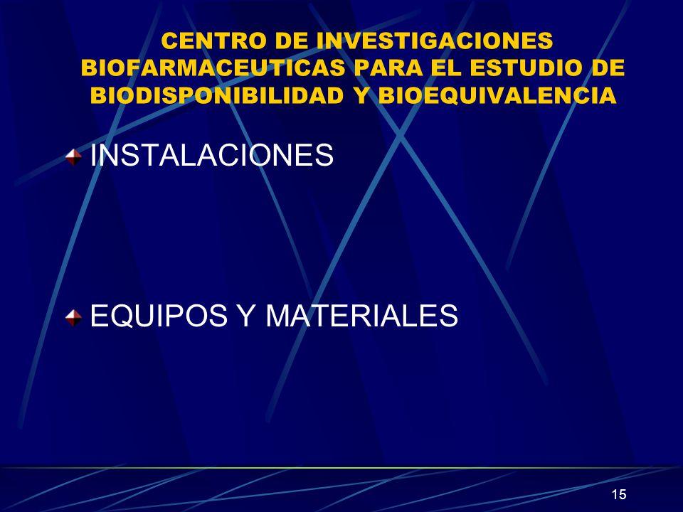 INSTALACIONES EQUIPOS Y MATERIALES