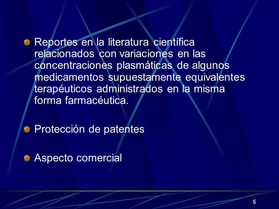 Reportes en la literatura científica relacionados con variaciones en las concentraciones plasmáticas de algunos medicamentos supuestamente equivalentes terapéuticos administrados en la misma forma farmacéutica.