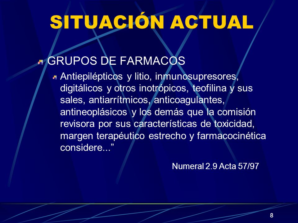 SITUACIÓN ACTUAL Numeral 2.9 Acta 57/97 GRUPOS DE FARMACOS
