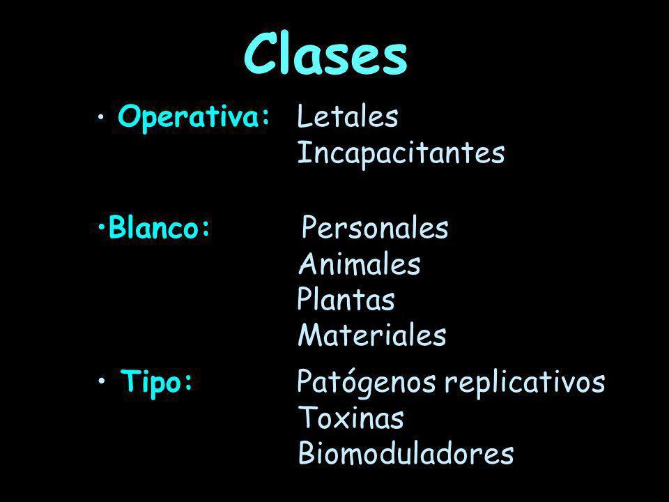Clases Incapacitantes Blanco: Personales Animales Plantas Materiales