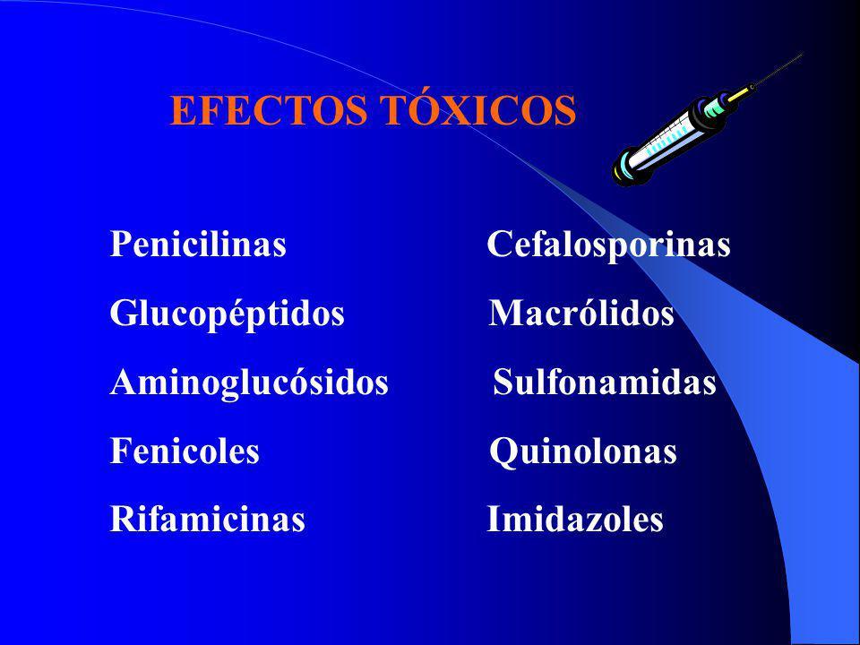 EFECTOS TÓXICOS Penicilinas Cefalosporinas. Glucopéptidos Macrólidos.