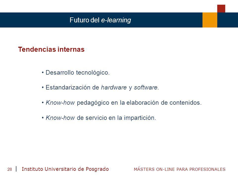 Tendencias internas Futuro del e-learning Desarrollo tecnológico.