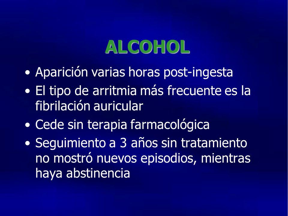 ALCOHOL Aparición varias horas post-ingesta