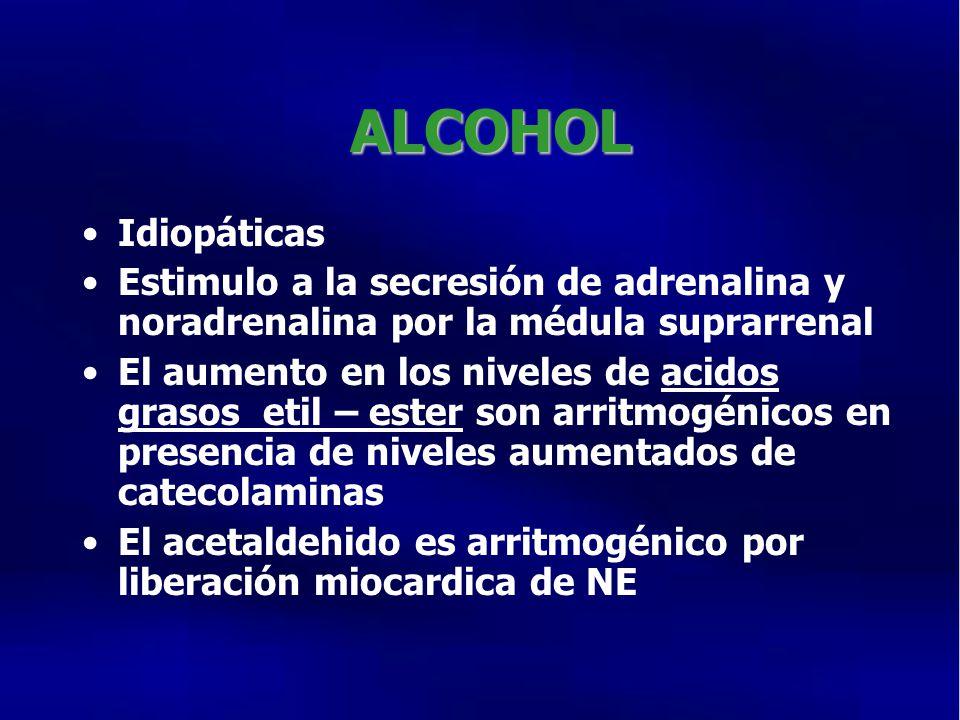 ALCOHOL Idiopáticas. Estimulo a la secresión de adrenalina y noradrenalina por la médula suprarrenal.