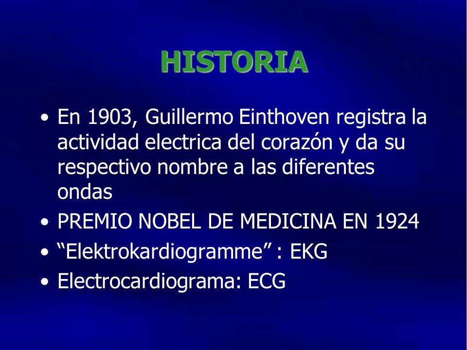 HISTORIA En 1903, Guillermo Einthoven registra la actividad electrica del corazón y da su respectivo nombre a las diferentes ondas.