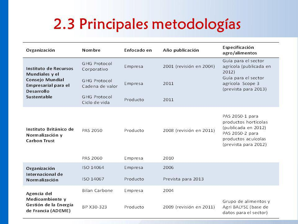 2.3 Principales metodologías