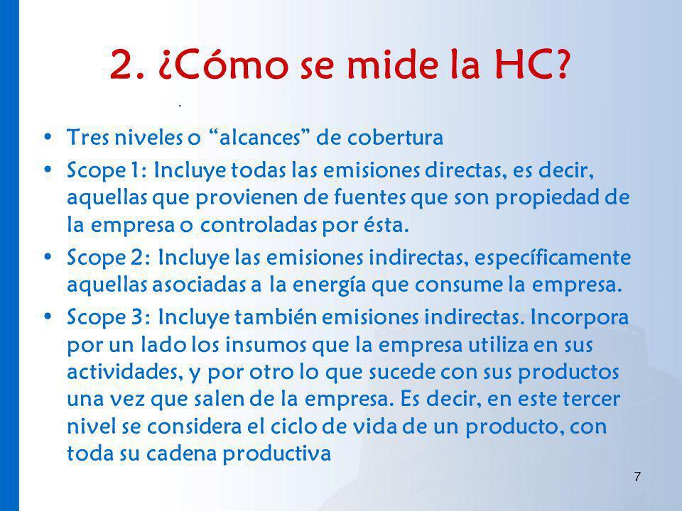 2. ¿Cómo se mide la HC Tres niveles o alcances de cobertura