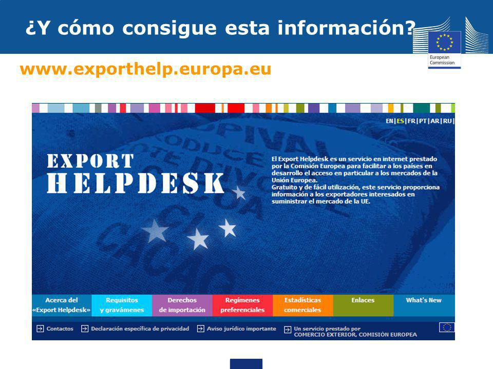 ¿Y cómo consigue esta información www.exporthelp.europa.eu