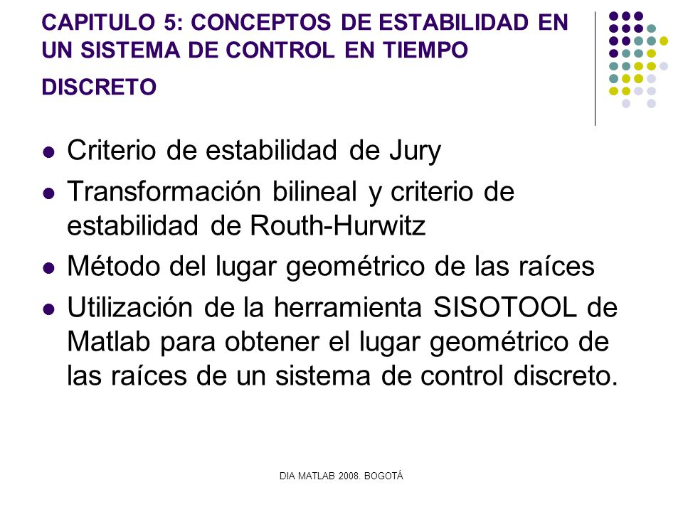 Criterio de estabilidad de Jury