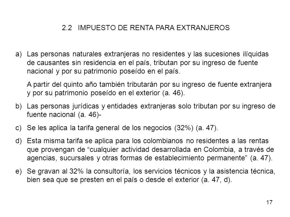 2.2 IMPUESTO DE RENTA PARA EXTRANJEROS