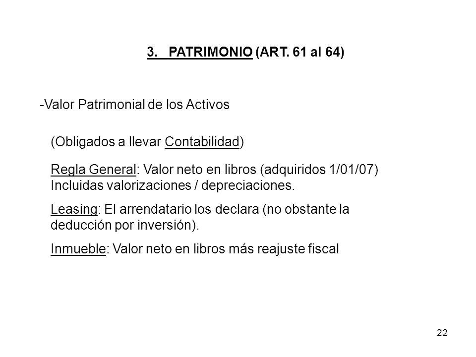 3. PATRIMONIO (ART. 61 al 64) Valor Patrimonial de los Activos. (Obligados a llevar Contabilidad)