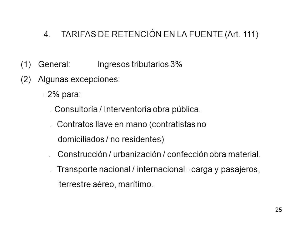 TARIFAS DE RETENCIÓN EN LA FUENTE (Art. 111)