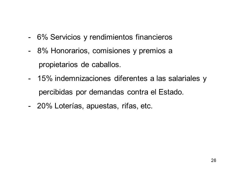 - 6% Servicios y rendimientos financieros