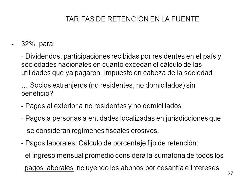 TARIFAS DE RETENCIÓN EN LA FUENTE
