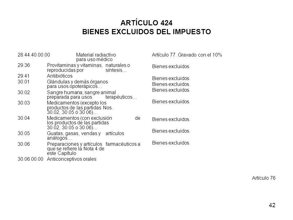 ARTÍCULO 424 BIENES EXCLUIDOS DEL IMPUESTO