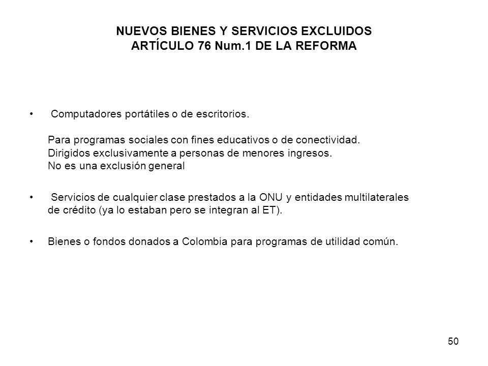 NUEVOS BIENES Y SERVICIOS EXCLUIDOS ARTÍCULO 76 Num.1 DE LA REFORMA
