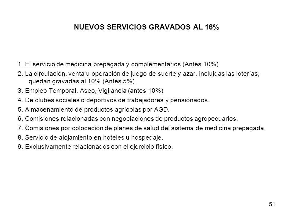 NUEVOS SERVICIOS GRAVADOS AL 16%