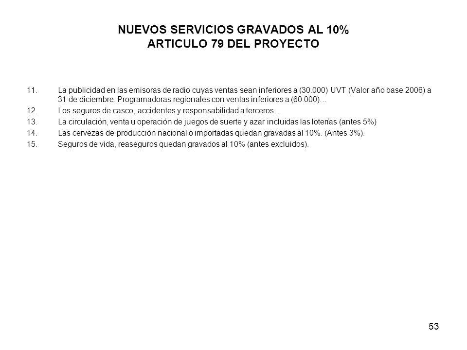 NUEVOS SERVICIOS GRAVADOS AL 10% ARTICULO 79 DEL PROYECTO