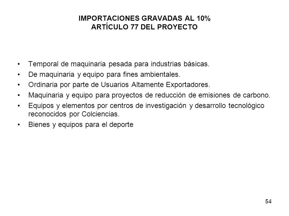IMPORTACIONES GRAVADAS AL 10% ARTÍCULO 77 DEL PROYECTO