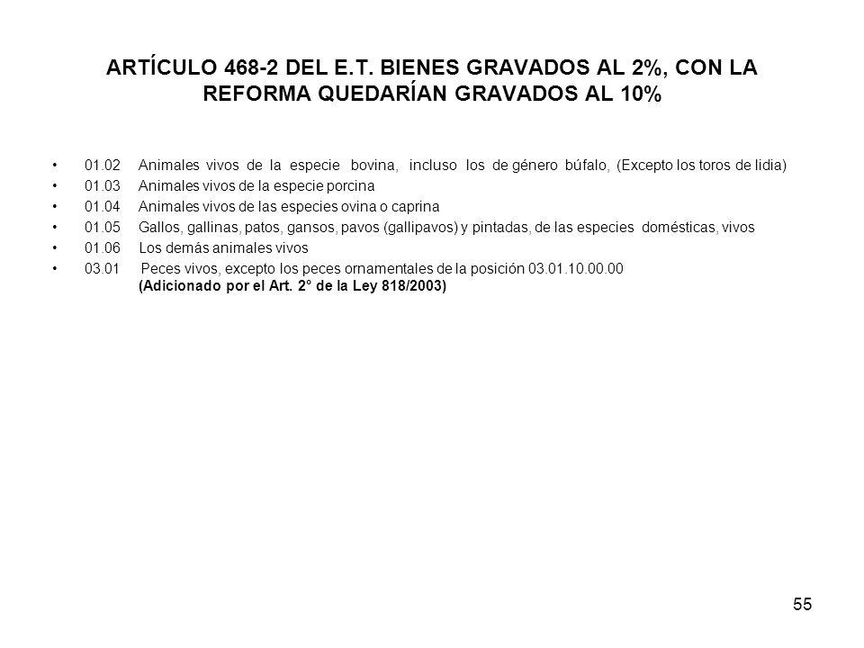 ARTÍCULO 468-2 DEL E.T. BIENES GRAVADOS AL 2%, CON LA REFORMA QUEDARÍAN GRAVADOS AL 10%