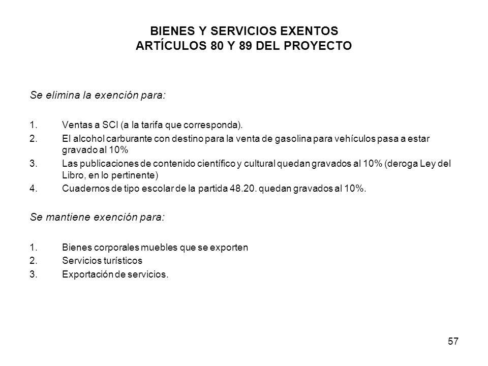 BIENES Y SERVICIOS EXENTOS ARTÍCULOS 80 Y 89 DEL PROYECTO