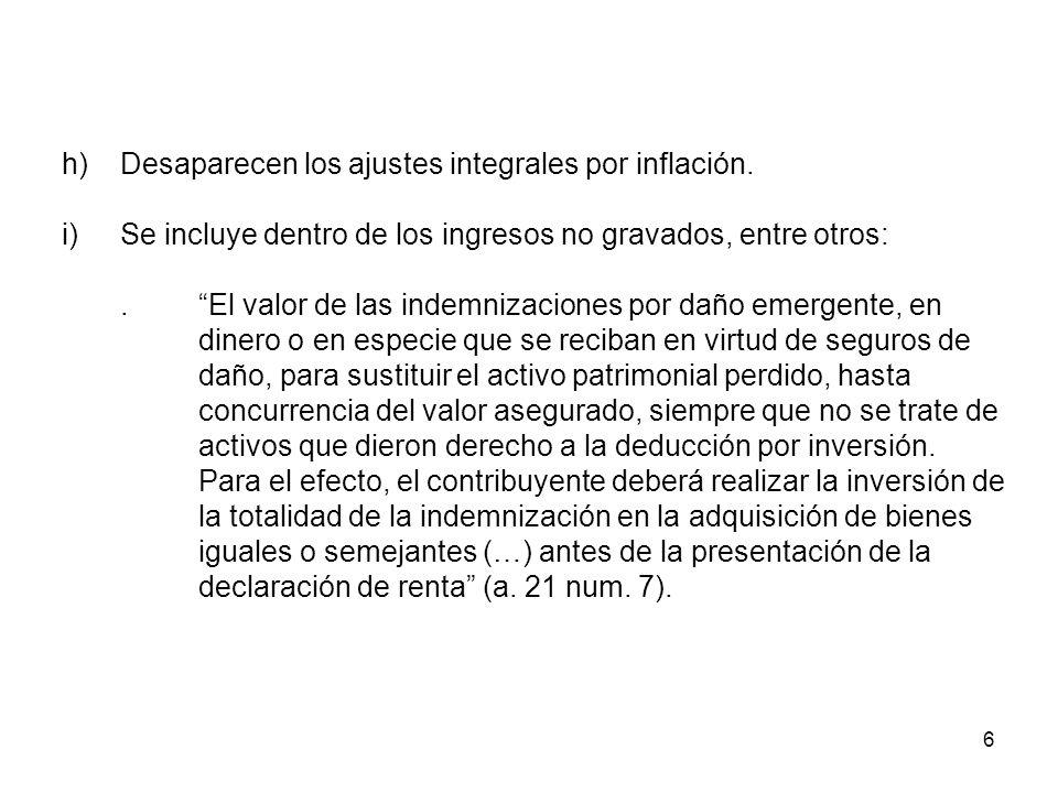 h) Desaparecen los ajustes integrales por inflación.
