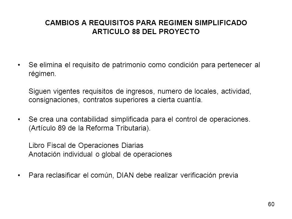 CAMBIOS A REQUISITOS PARA REGIMEN SIMPLIFICADO ARTICULO 88 DEL PROYECTO