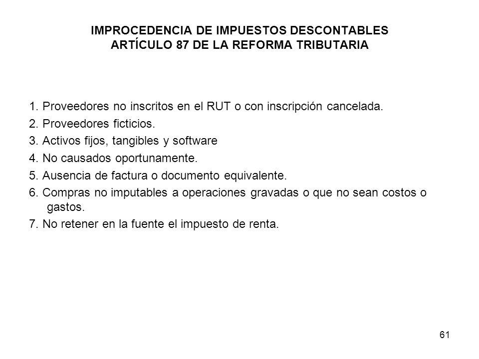 IMPROCEDENCIA DE IMPUESTOS DESCONTABLES ARTÍCULO 87 DE LA REFORMA TRIBUTARIA