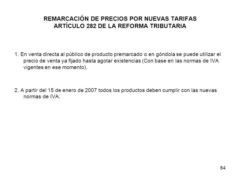 REMARCACIÓN DE PRECIOS POR NUEVAS TARIFAS ARTÍCULO 282 DE LA REFORMA TRIBUTARIA