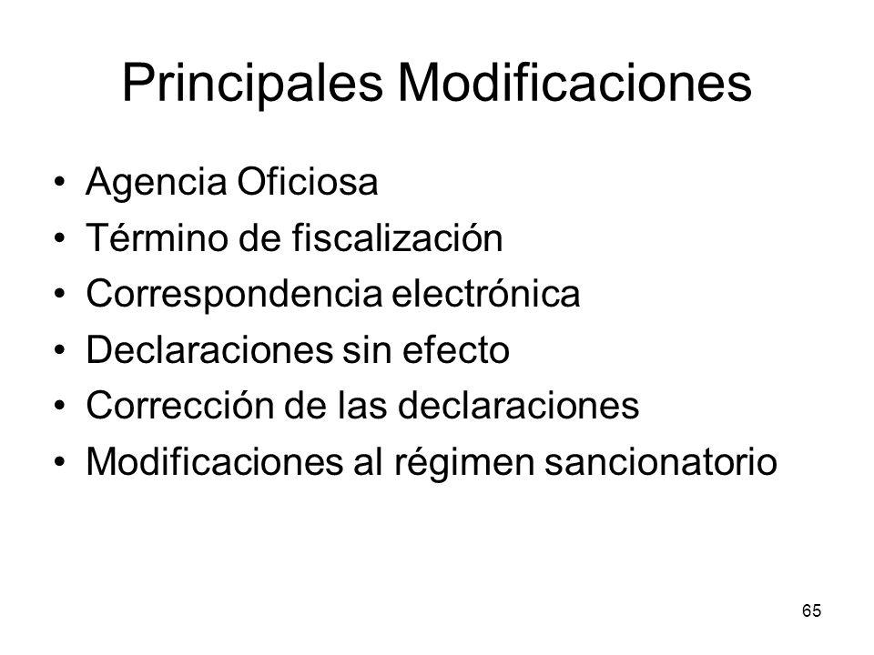 Principales Modificaciones