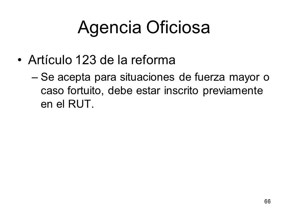 Agencia Oficiosa Artículo 123 de la reforma