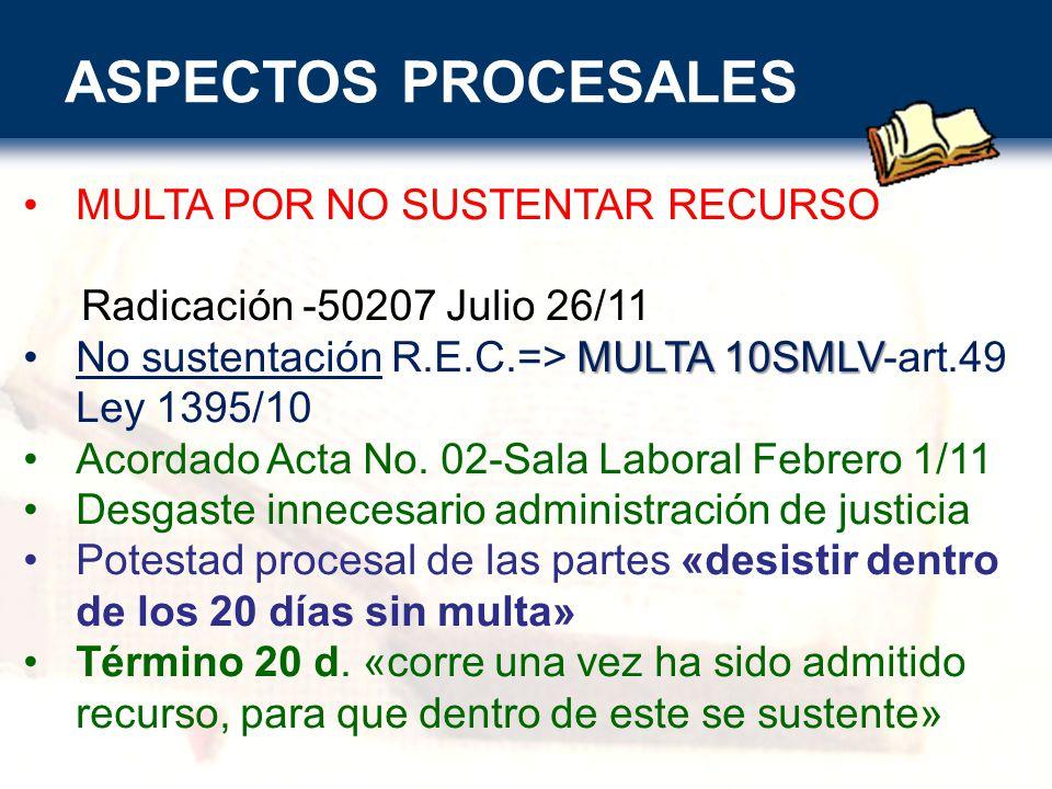 ASPECTOS PROCESALES MULTA POR NO SUSTENTAR RECURSO