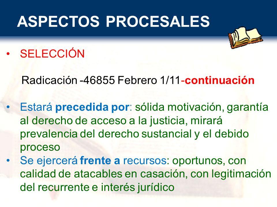 ASPECTOS PROCESALES SELECCIÓN