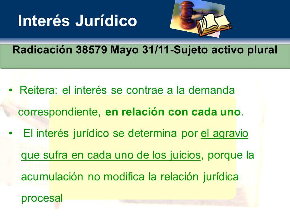 Radicación 38579 Mayo 31/11-Sujeto activo plural