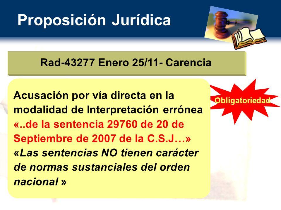 Proposición Jurídica Rad-43277 Enero 25/11- Carencia