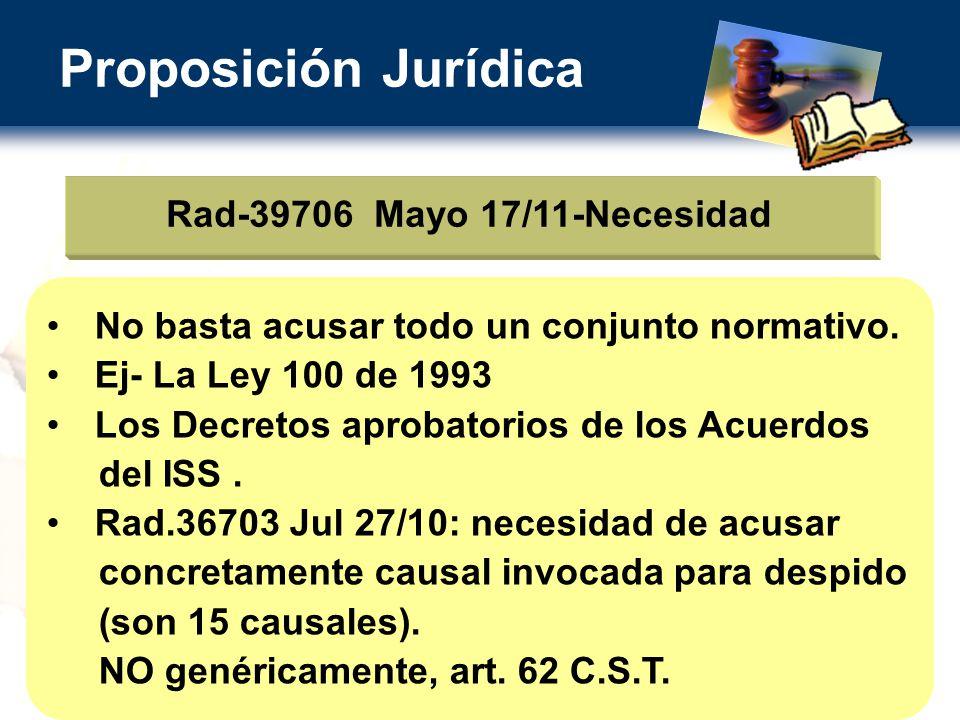 Proposición Jurídica Rad-39706 Mayo 17/11-Necesidad