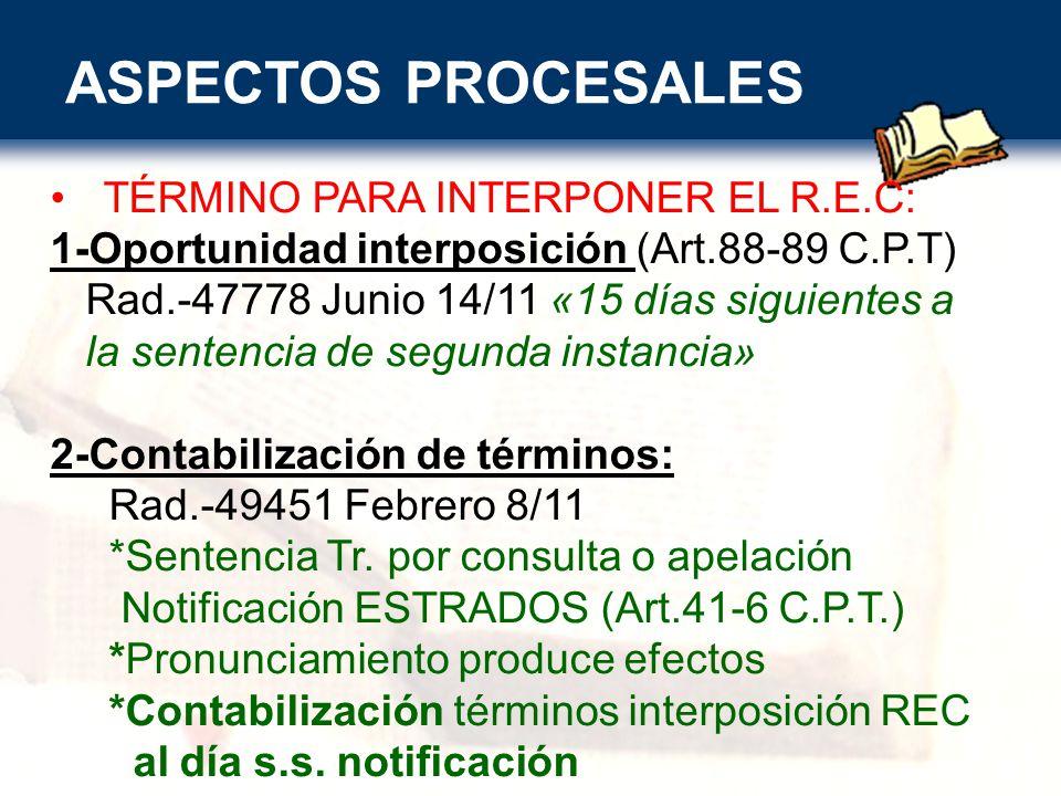 ASPECTOS PROCESALES TÉRMINO PARA INTERPONER EL R.E.C: